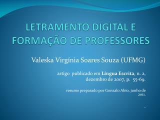 LETRAMENTO DIGITAL E FORMA��O DE PROFESSORES