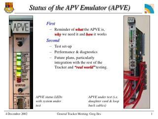 Status of the APV Emulator (APVE)