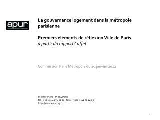 Commission Paris Métropole du 20 janvier 2012