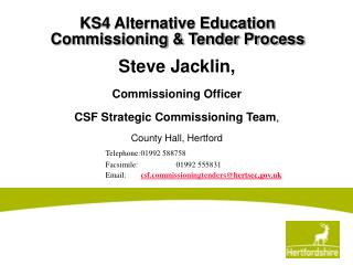 KS4 Alternative Education Commissioning & Tender Process