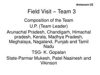 Field Visit – Team 3
