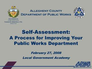Self-Assessment: A Process for Improving Your Public Works Department