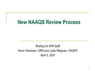 New NAAQS Review Process