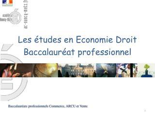 Les études en Economie Droit Baccalauréat professionnel