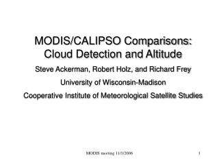 MODIS/CALIPSO Comparisons: Cloud Detection and Altitude