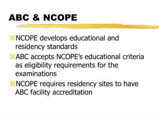 ABC & NCOPE