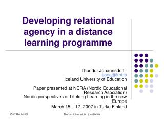 Developing relational agency in a distance learning programme