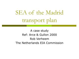 SEA of the Madrid transport plan