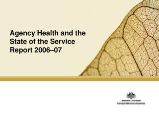 Agency Health and the State of the Service Report 2006–07
