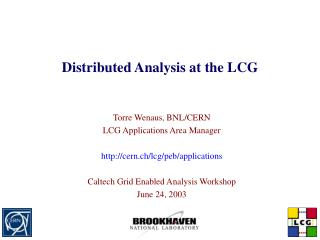 Distributed Analysis at the LCG