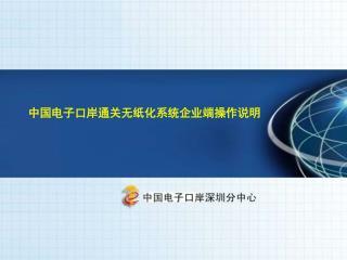 中国电子口岸 通关无纸化系统企业端 操作说明