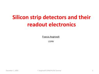 Silicon strip detectors and their readout electronics