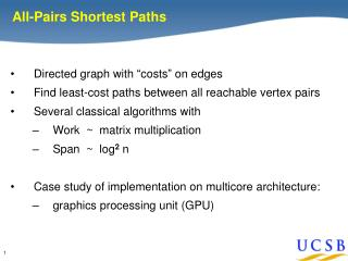 """Directed graph with """"costs"""" on edges Find least-cost paths between all reachable vertex pairs"""