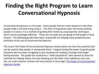 Finding the Right Program to Learn Conversational Hypnosis