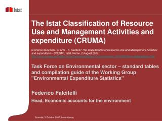 Task Force on Environmental sector – standard tables and compilation guide of the Working Group