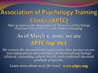 Association of Psychology Training Clinics (APTC)