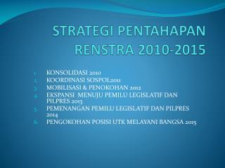 STRATEGI PENTAHAPAN RENSTRA 2010-2015