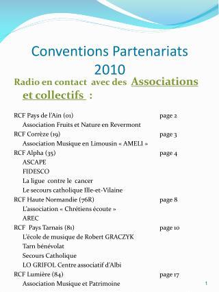 Conventions Partenariats 2010