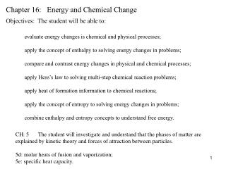 Chapter 16:   Energy and Chemical Change