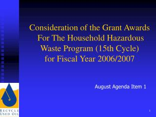 August Agenda Item 1