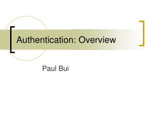 Authentication: Overview