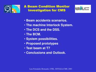 A Beam Condition Monitor Investigation for CMS