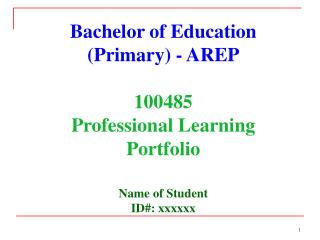 Bachelor of Education (Primary) - AREP 100485  Professional Learning Portfolio Name of Student
