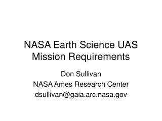 NASA Earth Science UAS Mission Requirements