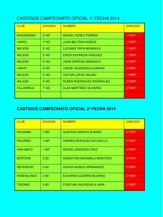 CASTIGOS CAMPEONATO OFICIAL 1º FECHA 2014