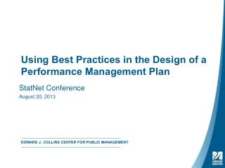 Using Best Practices in the Design of a Performance Management Plan