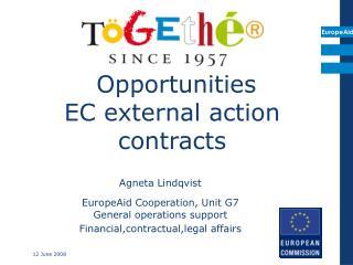 Opportunities  EC external action contracts