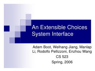 An Extensible Choices System Interface