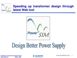 Speeding up transformer design through latest Web tool