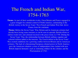 The French and Indian War, 1754-1763