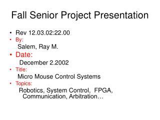 Fall Senior Project Presentation