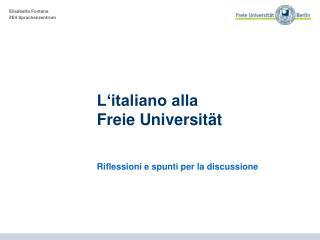 L'italiano alla  Freie Universität