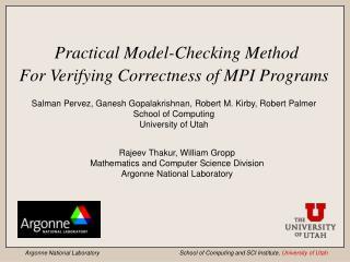 Practical Model-Checking Method For Verifying Correctness of MPI Programs
