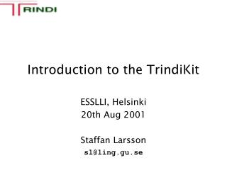 Introduction to the TrindiKit