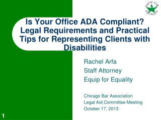 Rachel Arfa Staff Attorney Equip for Equality Chicago Bar Association  Legal Aid Committee Meeting