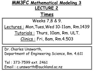 MM3FC  Mathematical Modeling 3 LECTURE 2