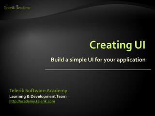 Creating UI