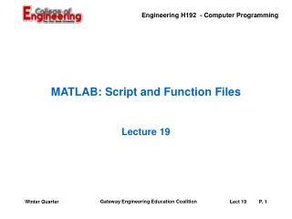 MATLAB: Script and Function Files