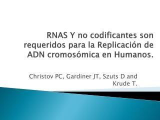 RNAS Y no codificantes son requeridos para la Replicación de ADN cromosómica en Humanos.
