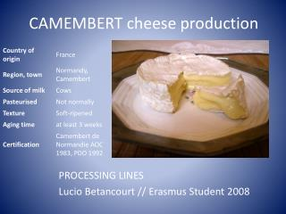 CAMEMBERT cheese production