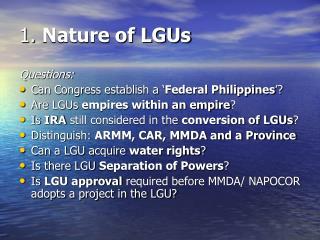 1.  Nature of LGUs