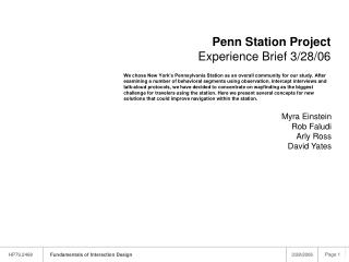 Penn Station Project  Experience Brief 3/28/06