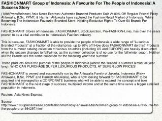 FASHIONMART Group of Indonesia: A Favourite For The People o