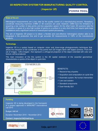 3D INSPECTION SYSTEM FOR MANUFACTURING QUALITY CONTROL ( Inspector 3D )