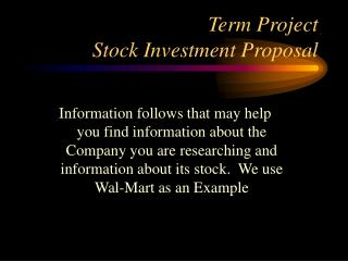 Term Project Stock Investment Proposal