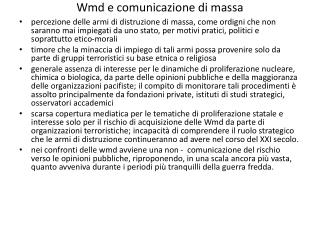 Wmd e comunicazione di massa